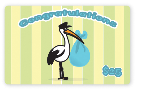 Blue stork predesigned gift card
