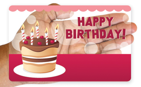 Clear birthday cake gift card design
