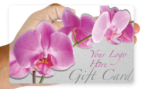 Clear plastic pink orchid gift card design