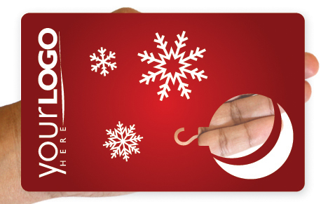 Clear Christmas tree ornament gift card design
