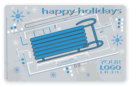 Happy holidays sled gift card design