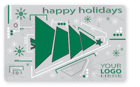 Happy holidays Christmas tree gift card design
