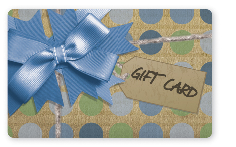 Craft paper gift card design with blue bow