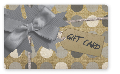 Craft paper gift card design with silver bow