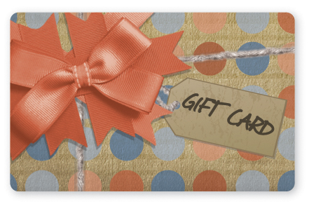 Craft paper gift card design with orange bow