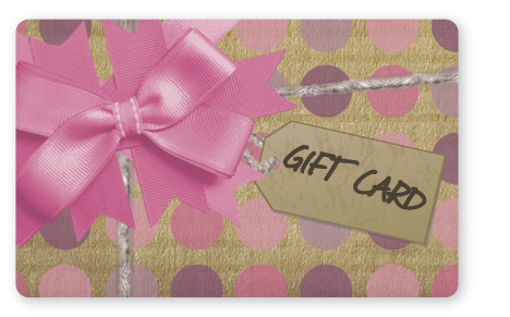 Craft paper gift card design with pink bow