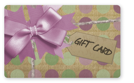 Craft paper gift card design with lavender bow