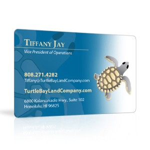 Plastic business cards in clear, transparent, or a solid color
