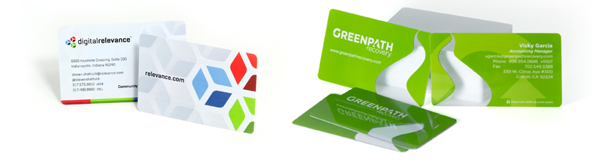 Plastic business cards, clear business cards, and transparent business cards