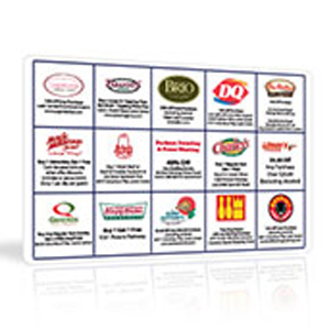 Coupon cards for fundraiser programs