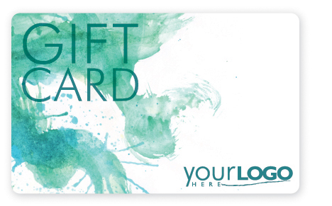 Predesigned gift card that will accept a company logo