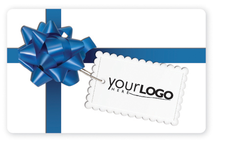 Gift card design with blue bow