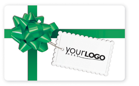Gift card design with green bow