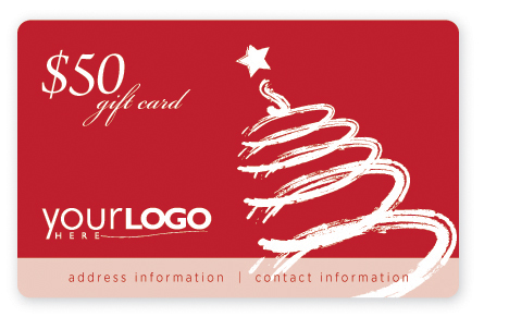 Holiday gift card design with tree