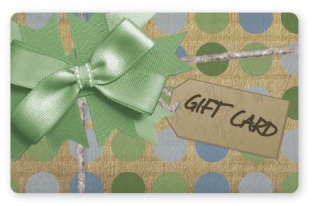 Craft paper gift card design with green bow