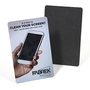 Promotional screen cleaner wallet card