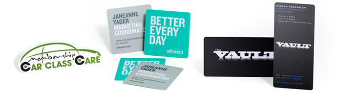 Die cut business cards and gift cards