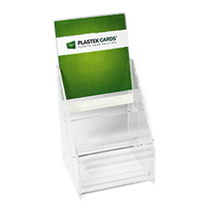 Gift card display stand with three pockets