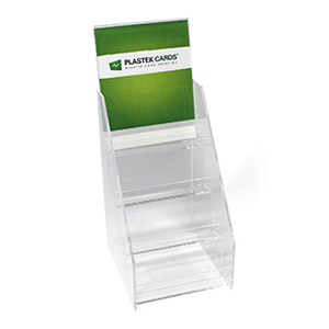 Acrylic gift card display stand with four pockets and a sign insert