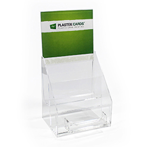 Two-tiered acrylic gift card display stand