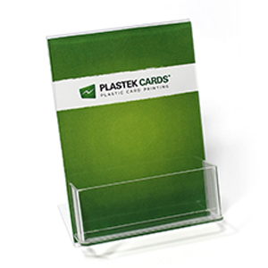 Acrylic gift card display can also hold carriers or envelopes