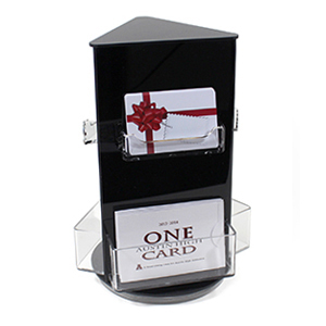 Rotating gift card display stand with six pockets