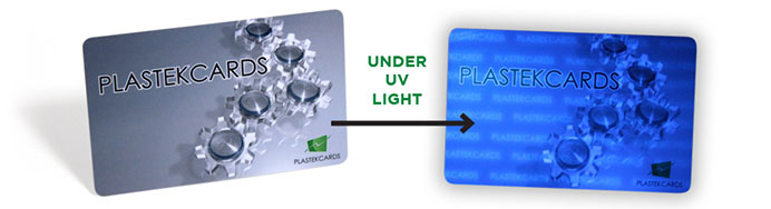 Plastic cards with UV light detection