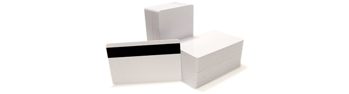 Blank plastic cards with a magnetic stripe for id badges