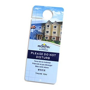 Plastic hotel door hangers and do not disturb signs
