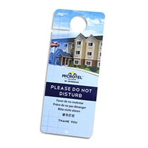 Plastic hotel door hangers and do not disturb signs