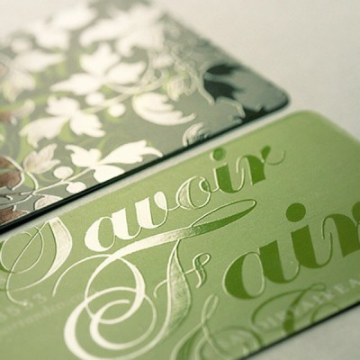 Spot UV Business Card Green