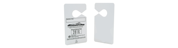 Plastic hanging parking permits for businesses and schools
