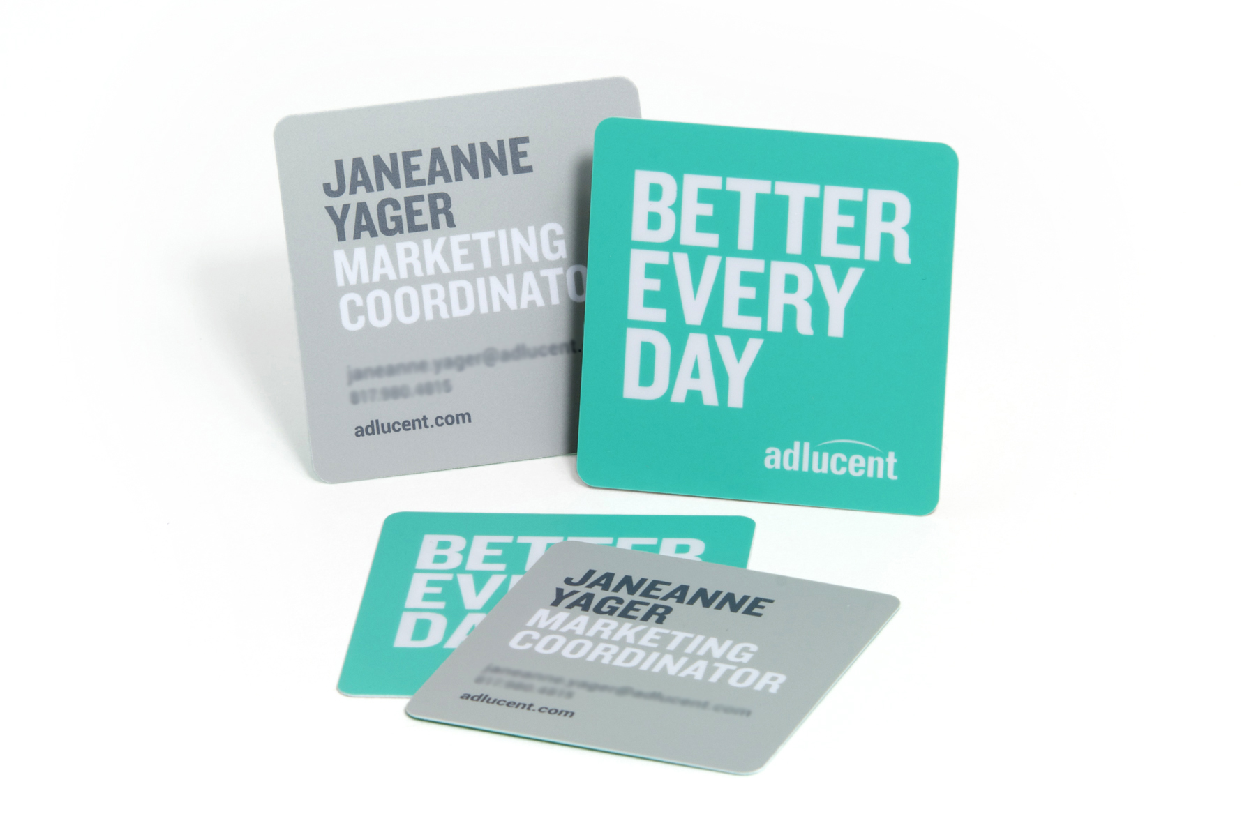 adlucent thinks outside the box with square business cards